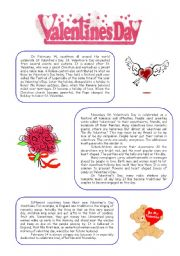 Intermediate ESL worksheets Valentines Day  reading comprehension