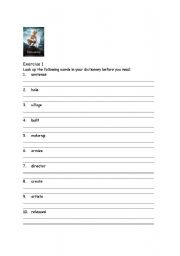 English Worksheet: Lord of the Rings-Reading