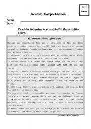 English Worksheet: museums