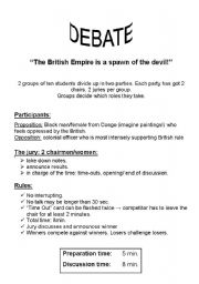 English Worksheets: Hot chair disccussion - British Empire