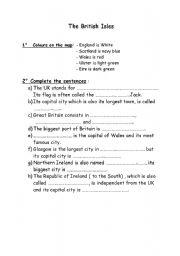 English Worksheets: The Britsh Isles