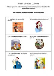 English Worksheets: Make up questions Present_Continuous