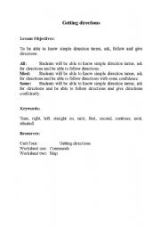 English Worksheet: Getting directions