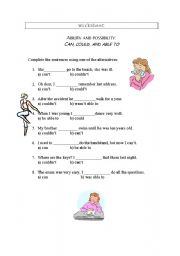 English Worksheet: ability and possibility: can, could and be able to
