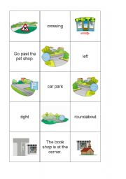 English Worksheet: asking the way-memory