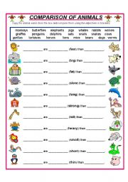 English worksheet: COMPARE THESE ANIMALS