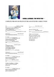 English Worksheets: I�M WITH YOU BY AVRIL LAVIGNE. SONG AVTIVITY