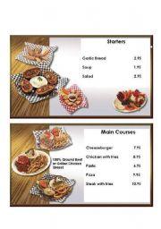 English Worksheet: Simple Restaurant Menu