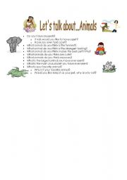 English Worksheets: Chatting about ... Animals