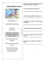 English Worksheet: Swimming Lesson