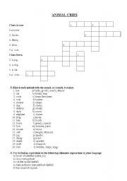 English Worksheets: Animal Cries Crossword