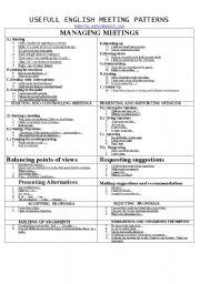 English Worksheets: uSEFUL eNGLISH mEETING pATTERNS