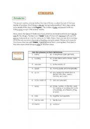 English Worksheets: Worksheet on Ethiopia