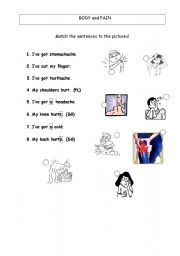 English Worksheets: body and pain