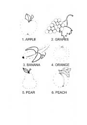 English Worksheet: Dot-to-dot fruit coloring