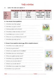 English Worksheet: Daily activities - questions