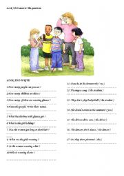 English Worksheet: look at the picture and answer the questions