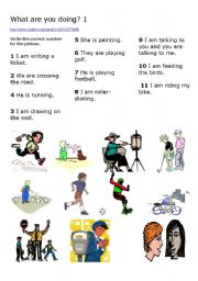 English Worksheets: What are you doing 1
