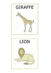 English Worksheet: ZOO ANIMALS FLASHCARDS