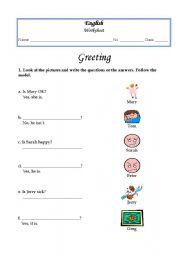 English worksheet: Greetings