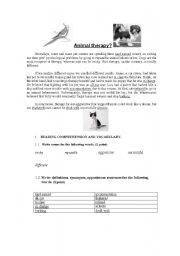 English Worksheets: Animal Therapy