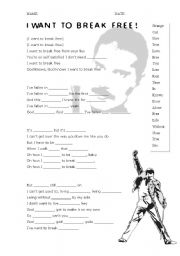 English Worksheet: I WANT TO BREAK FREE