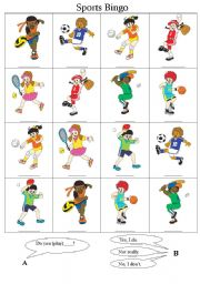 English Worksheet: Sports Bingo