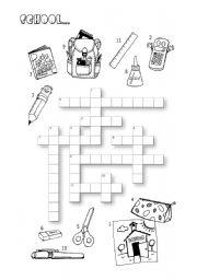 English Worksheet: School Crossword