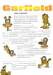 English Worksheet: Present Simple ex-s with Garfield.