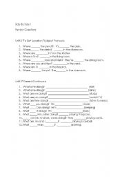 English Worksheet: Side By Side Book 1 Review Chapter tests