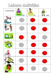 English Worksheet: leisure Activities :like-dislike with exercises