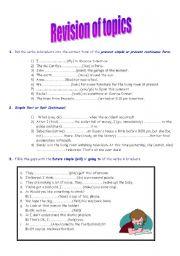English Worksheets: revision of topics