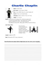 English Worksheet: Charlie Chaplin: a biography