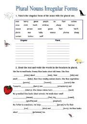 English Worksheet: Plural Nouns Irregular Forms