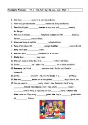 English Worksheet: fill in exercise - possessive pronouns