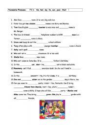 Grammar worksheets > Pronouns > Possessive pronouns > fill in exercise ...