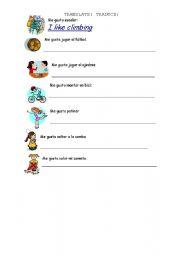 English Worksheet: LIKE-DON�T LIKE + ING
