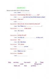 English Worksheet: Shopping - a dialogue in the shop