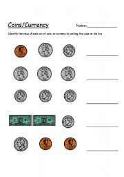 English worksheet: Value of coins/currency