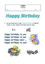 english worksheets happy birthday song worksheet. Black Bedroom Furniture Sets. Home Design Ideas