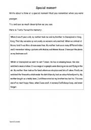 English Worksheets: Show and tell, my special moment