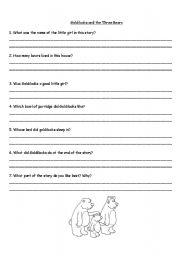 math worksheet : english teaching worksheets goldilocks and the three bears : Goldilocks And The Three Bears Worksheets Kindergarten