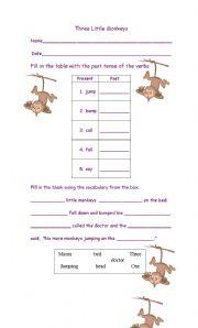 English Worksheets: Three Little Monkeys