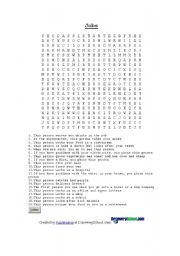 English Worksheet: Jobs Wordsearch