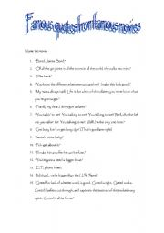 esl worksheets for adults famous movie quotes. Black Bedroom Furniture Sets. Home Design Ideas