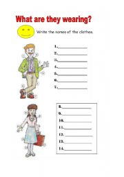 English Worksheet: Labelling the clothes