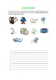 English Worksheet: Saving energy