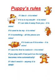 English Worksheets: Funny Puppy�s Rules