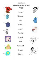 Printables Emotions Worksheets english teaching worksheets emotions matching worksheet