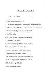 English Worksheets: True and False